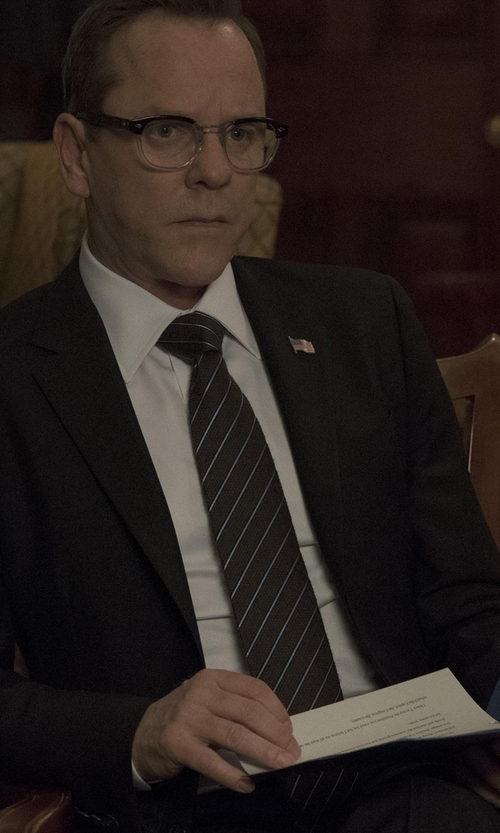Kiefer Sutherland with Jack Spade Men's Spaced Stripe Tie in Designated Survivor