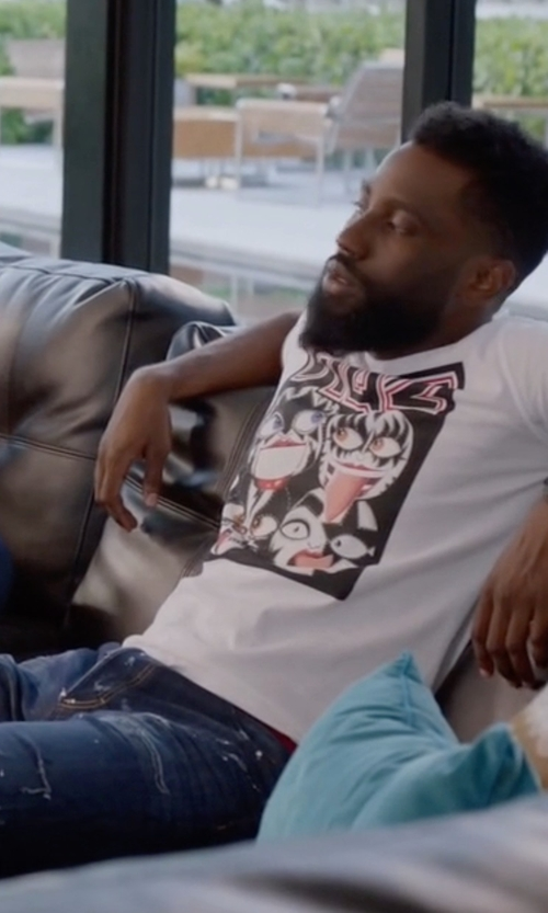 John David Washington with Philipp Plein Distressed Stretch Denim Jeans in Ballers