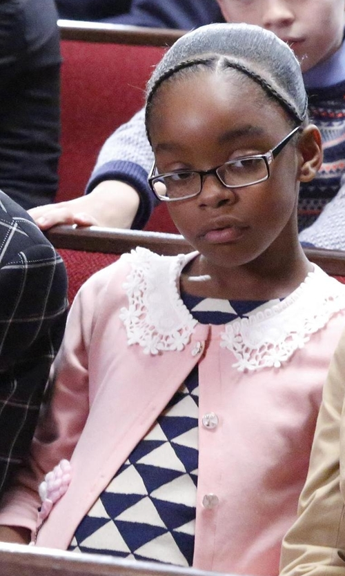 Marsai Martin with 8 Cashmere Cardigan in Black-ish
