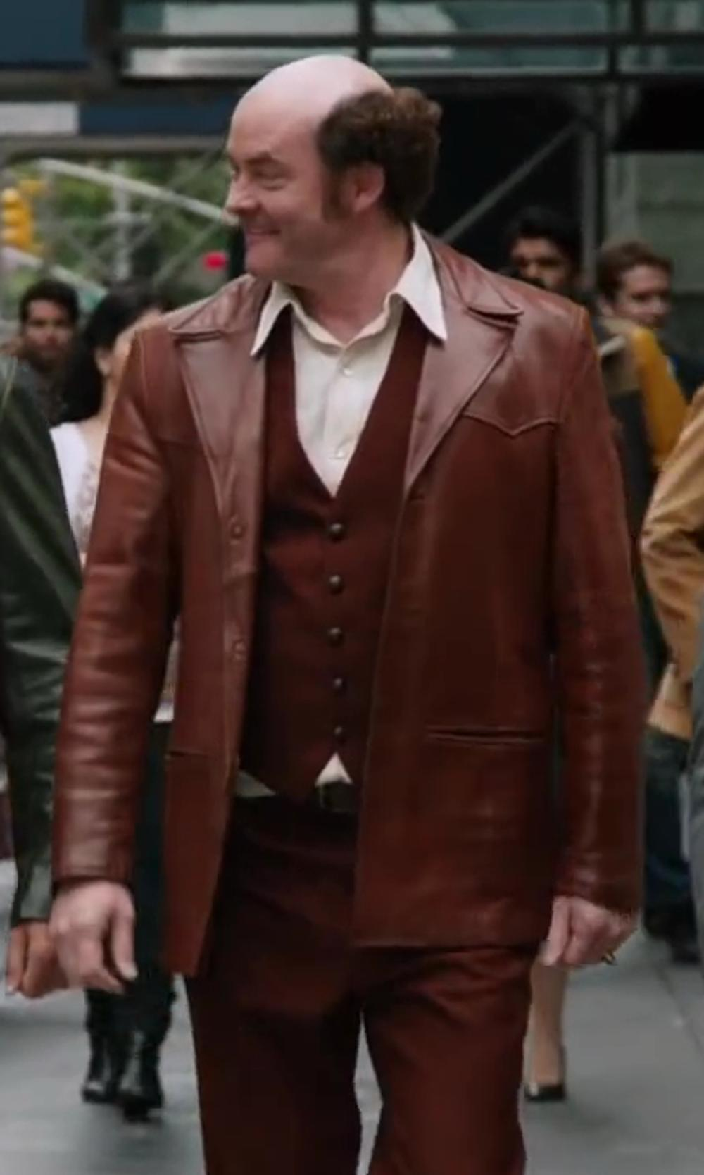 David Koechner with Grais Vintage Mens Grais Angel Skin Leather Mod Jacket Beltback Blazer 1970s in Anchorman 2: The Legend Continues