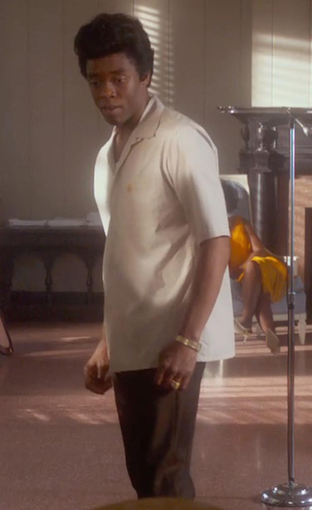 Chadwick Boseman with Dockers Men's Comfort Khaki D4 Relaxed Fit Flat Front Pant in Get On Up