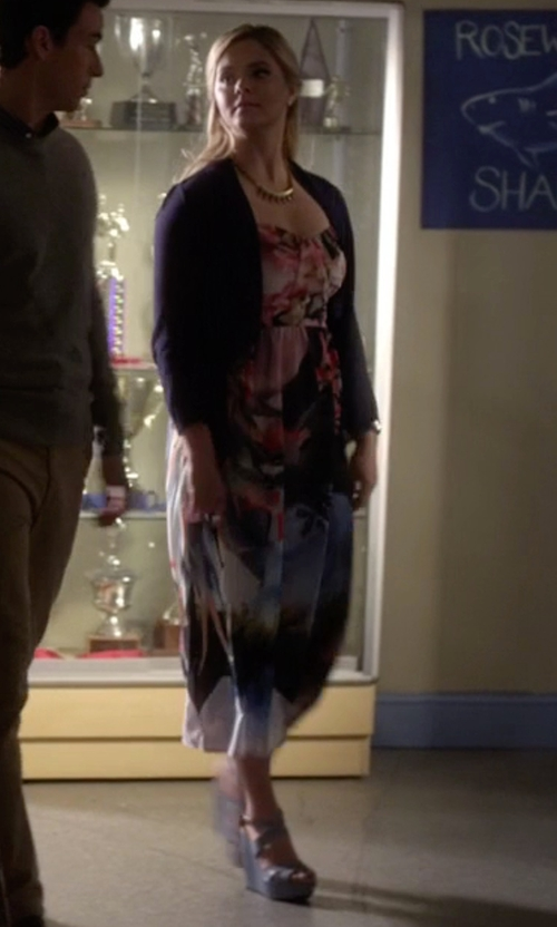 Sasha Pieterse with Kork-Ease Gracen Wedge Sandals in Pretty Little Liars
