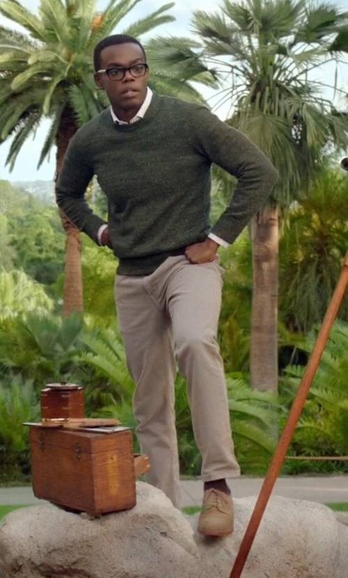 William Jackson Harper with Polo Ralph Lauren Domenick Oxford Shoes in The Good Place