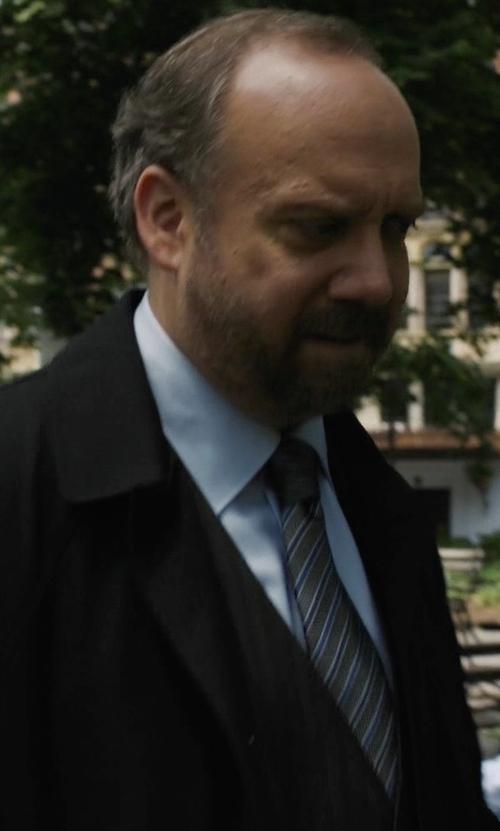 Paul Giamatti with Tom Ford Neat Diagonal-Stripe Silk Tie in Billions