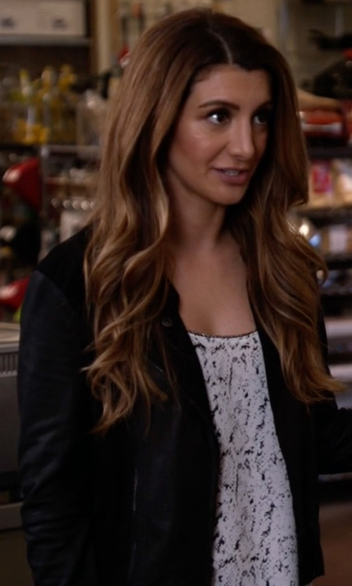 Nasim Pedrad with Cupcakes And Cashmere Caitlyn Vegan Leather Jacket in New Girl