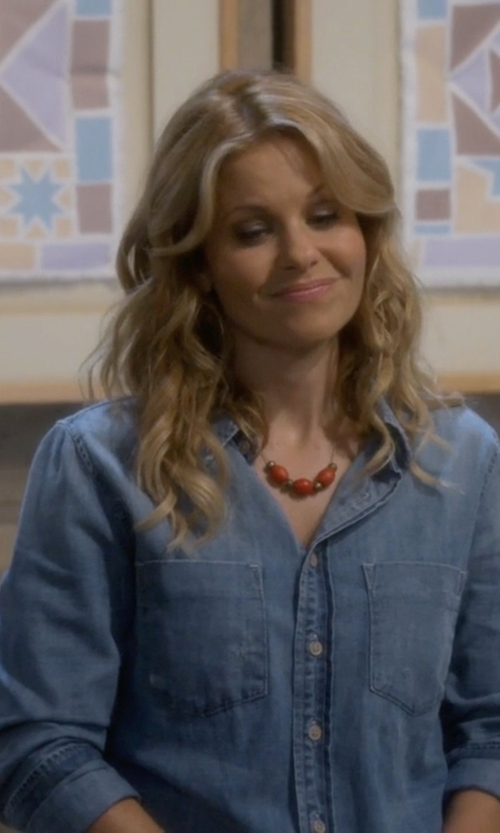 Candace Cameron Bure with Tommy Hilfiger Denim Shirt in Fuller House