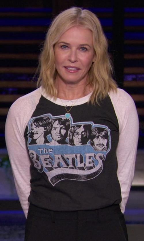 Chelsea Handler with Shirt Inspire The Beatles Baseball Raglan T-Shirt in Chelsea