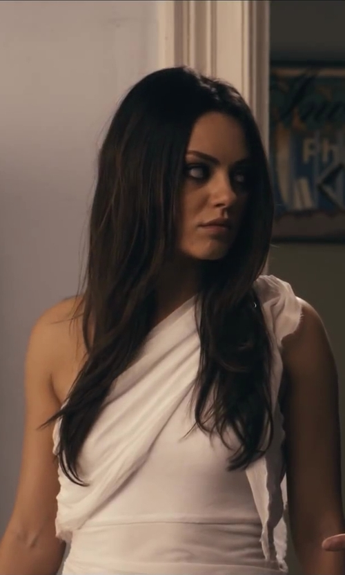 Mila Kunis with Alice + Olivia Grecian Draped One Shoulder Dress in Ted