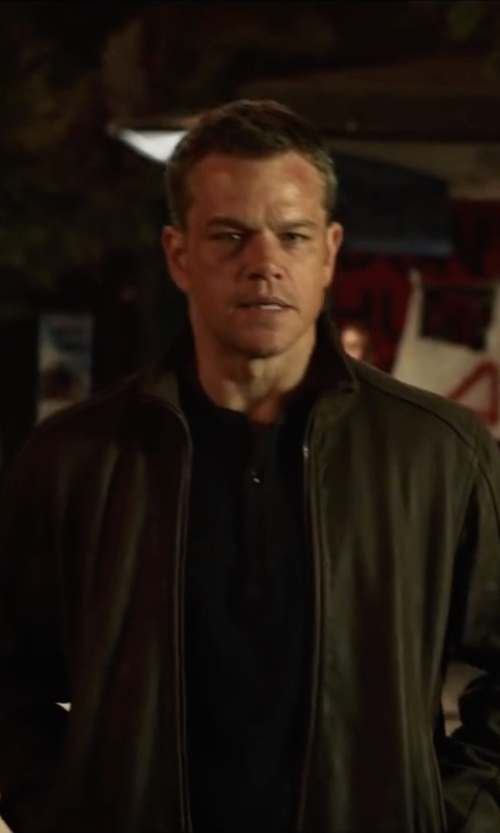 Matt Damon with American Rag Men's Henley Shirt in Jason Bourne