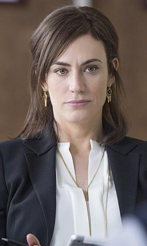 Maggie Siff with Ralph Lauren Black Label Wool Nathaniel Jacket in Billions