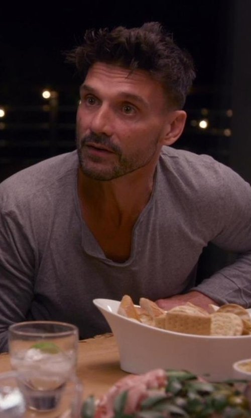 Frank Grillo with Boss Hugo Boss  Long Sleeve V-Neck Cotton Stretch Shirt in Chelsea