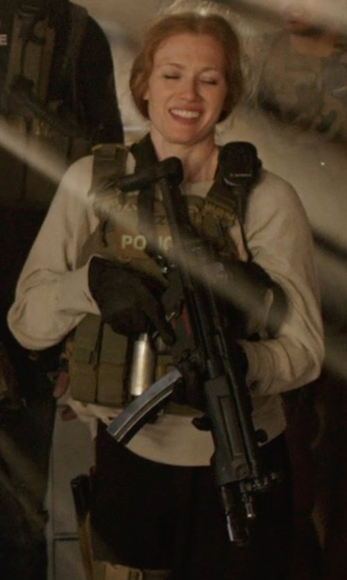 Mireille Enos with galaxyarmynavy Olive Drab - Tactical MOLLE Plate Carrier Vest in Sabotage