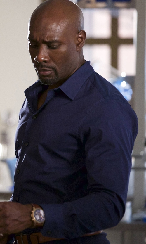 Morris Chestnut with Tom Ford Classic Solid Dress Shirt in Rosewood