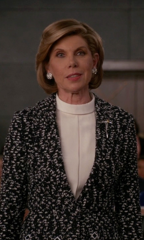 Christine Baranski with Red Valentino Tweed Blazer in The Good Wife