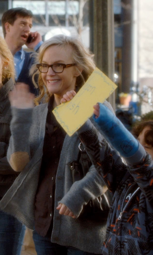 Rachael Harris with Ray-Ban Square Frame Acetate Optical Glasses in Barely Lethal