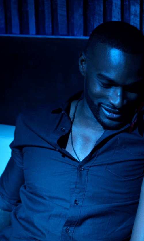 Tyson Beckford with Alfani Spectrum Slim-Fit Solid Dress Shirt in Addicted