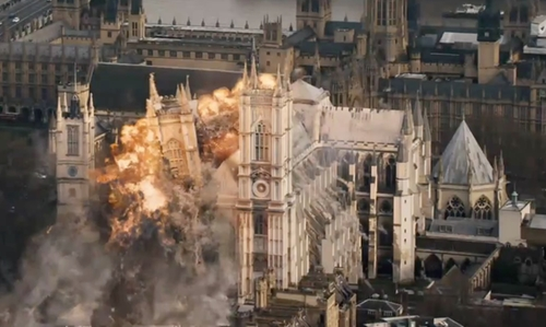 Unknown Actor with Westminster Abbey London, United Kingdom in London Has Fallen