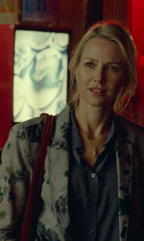 Naomi Watts with Aquarama Floral Print Blazer in While We're Young