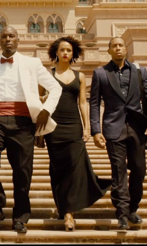 Nathalie Emmanuel with Jimmy Choo Piper T-Strap Sandals in Furious 7