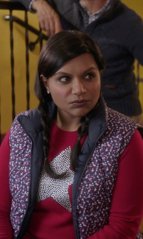 Mindy Kaling with Pure + Good Quilted Maja Vest in The Mindy Project