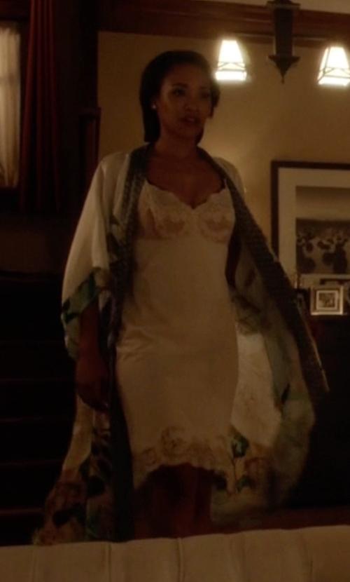 Candice Patton with BCBGMAXAZRIA Bridgett Lace-Trim Slip Dress in The Flash