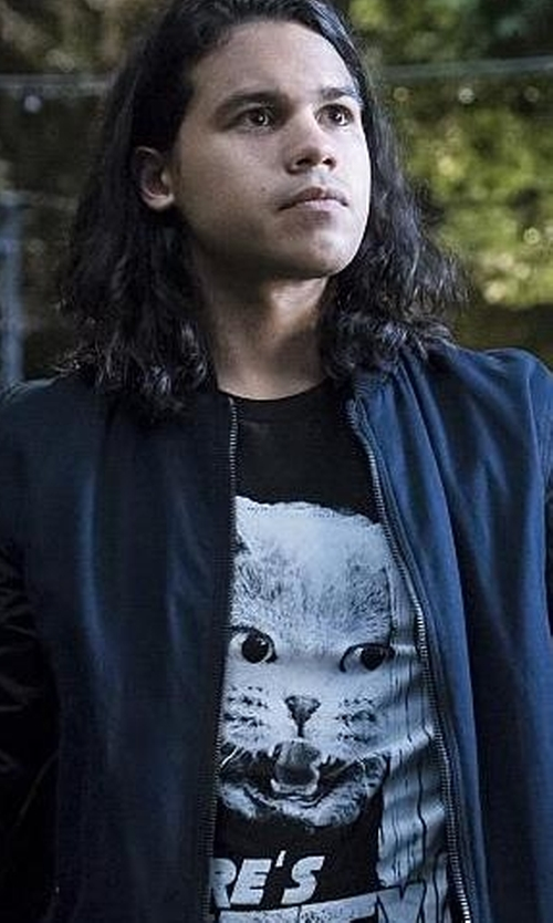 Carlos Valdes with Moncler Timothe Zip-Up Nylon Bomber Jacket in The Flash