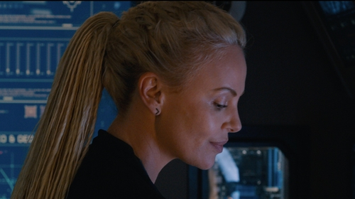 Charlize Theron with Perez Bitan Black Diamond Staple Earrings in The Fate of the Furious