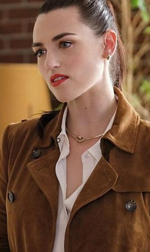 Katie McGrath with Polo Ralph Lauren Suede Trench Coat in Supergirl