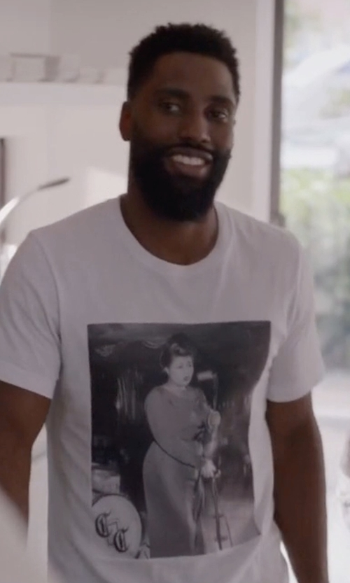 John David Washington with Neil Barrett Tattooed Statue Graphic T-Shirt in Ballers
