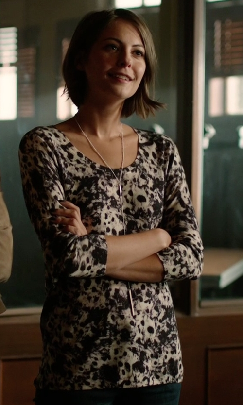 Willa Holland with The Kooples Printed Sweater in Arrow