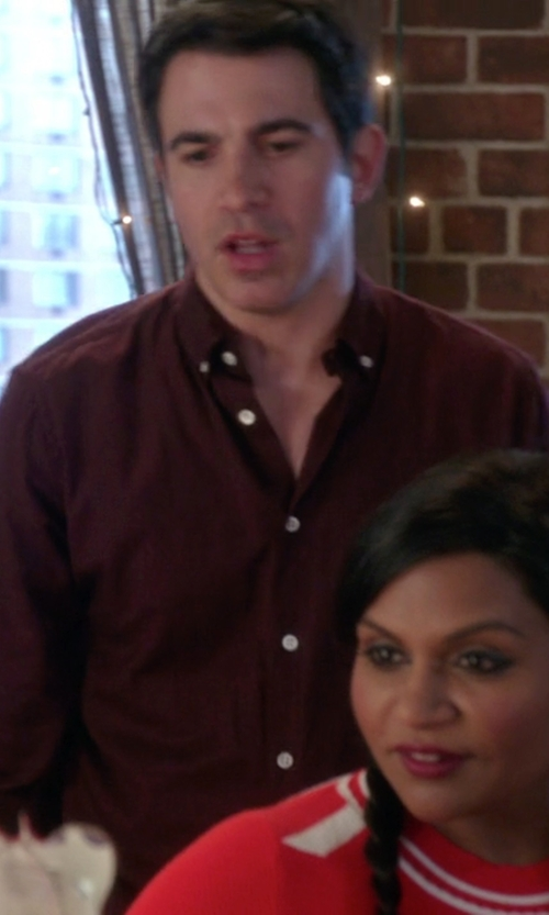 Chris Messina with Farah Oxford Shirt Slim Fit Shirt in The Mindy Project