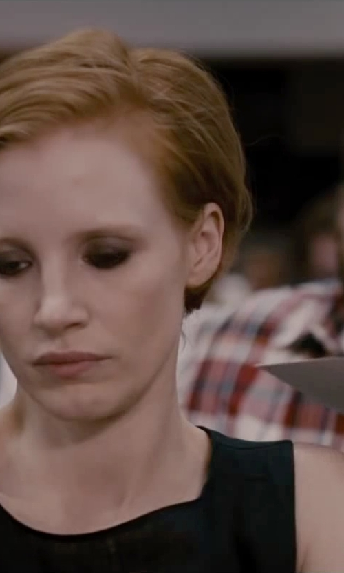 Jessica Chastain with Theory Prosecco Knit Sleeveless Flared Dress in The Disappearance of Eleanor Rigby