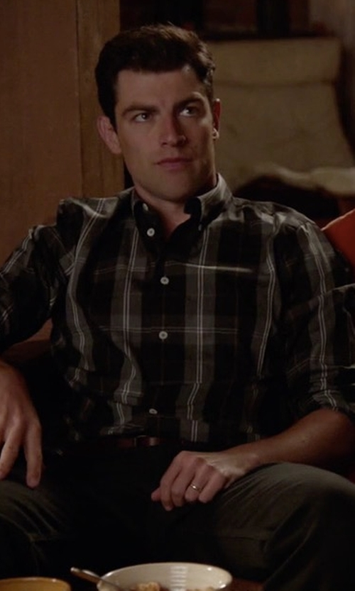 Max Greenfield with PS Paul Smith Extra Trim Fit Plaid Sport Shirt in New Girl