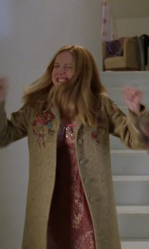 Laura Linney with Paparazzi Embroidered Button Coat in Love Actually