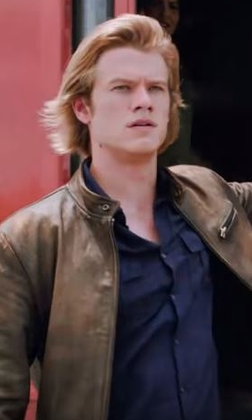 Lucas Till with Cole Haan Leather Zip-Up Jacket in MacGyver