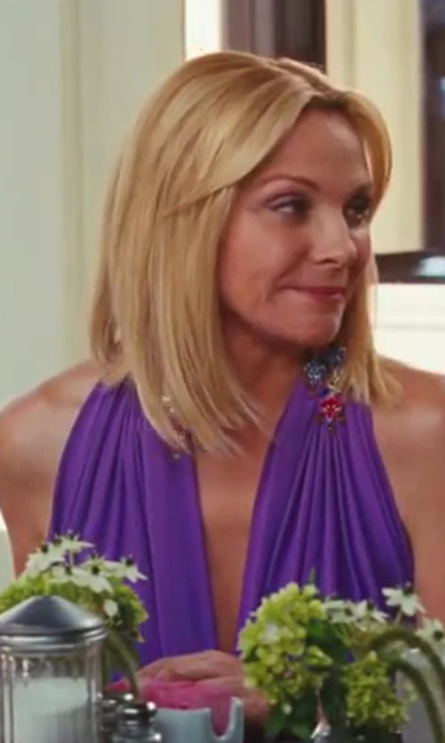 Kim Cattrall with Marc Bouwer Jersey Maxi Dress in Sex and the City 2