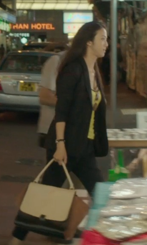 Wei Tang with Givenchy Medium 'Obsedia' Tote Bag in Blackhat