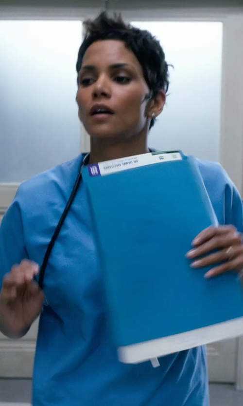 Halle Berry with WonderWink Women's Scrubs Bravo 5 Pocket V-Neck Top in New Year's Eve