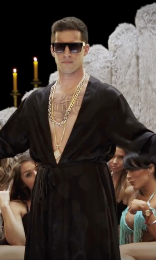 Andy Samberg with ASOS Geometric Longline Necklace in Popstar: Never Stop Never Stopping