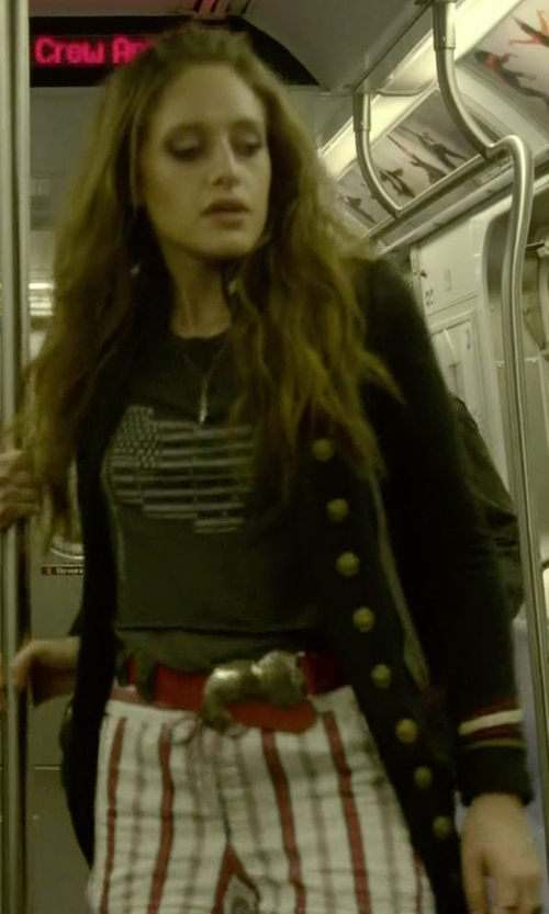 Carly Chaikin with True Religion Leather-Trim Wool Varsity Jacket in Mr. Robot