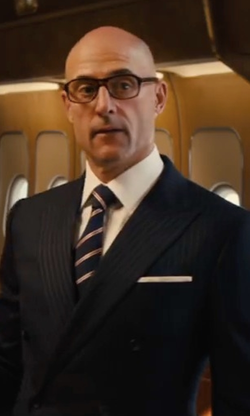 Mark Strong with Kingsman for Mr Porter Harry Slim-Fit Pinstriped Super 120s Wool And Cashmere-Blend Suit in Kingsman: The Golden Circle