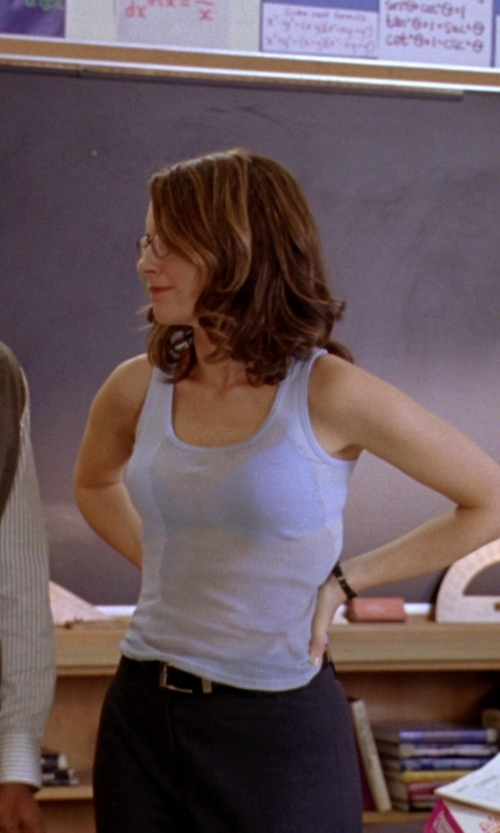 Tina Fey with Zella 'Double Scoop - Ocean Solid' Tank in Mean Girls