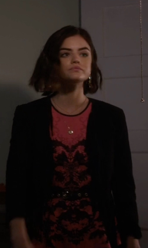 Lucy Hale with Gryphon Suede Fringed Jacket in Pretty Little Liars
