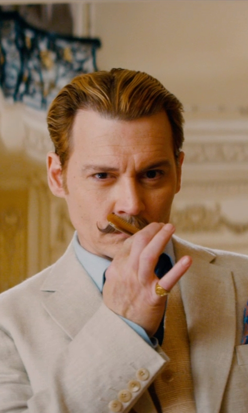 Johnny Depp with The Jewelry Master 14k Yellow Gold Mens Round & Baguette Diamond Pinky Ring in Mortdecai