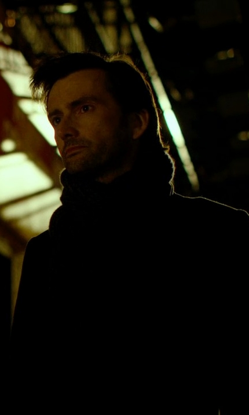 David Tennant with Michael Michael Kors Roger Zipper-Bib Overcoat in Jessica Jones