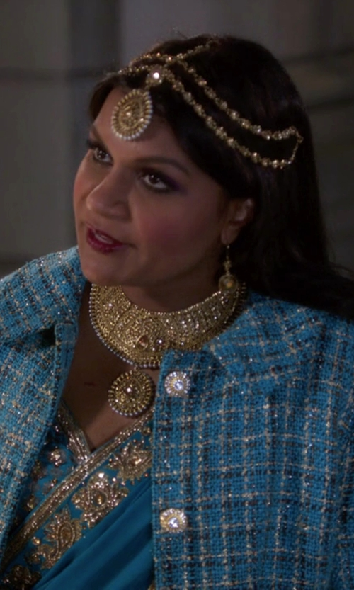 Mindy Kaling with Salvador Perez Peter Pan Collar Coat in The Mindy Project