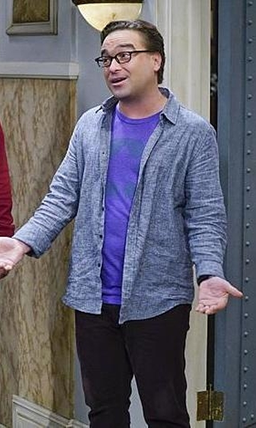 Johnny Galecki with Billy Reid  John T Textured Long Sleeve Standard Fit Shirt  in The Big Bang Theory