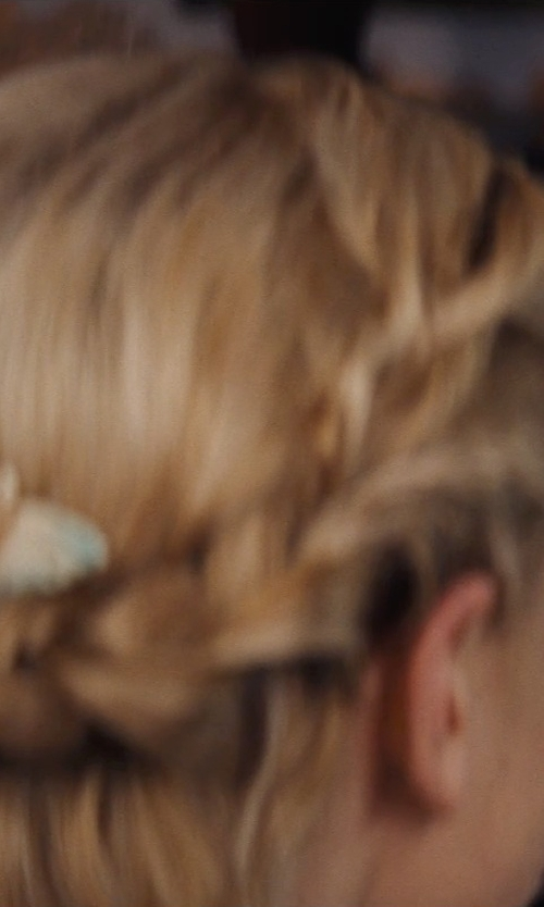 Lily James with Puka Silver Tone Butterfly Hair Accessory in Cinderella
