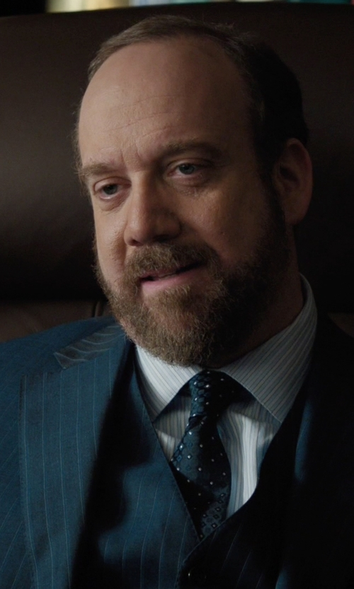 Paul Giamatti with Brooks Brothers Milano Fit Three-Piece Stripe 1818 Suit in Billions