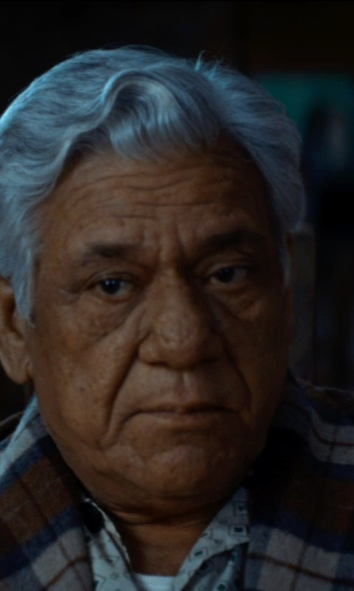 Om Puri with Melinda Gloss Plaid Print Shirt in The Hundred-Foot Journey